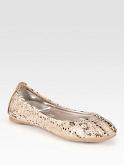 Tory Burch - Eddie Python-Print Watersnake Ballet Flats
