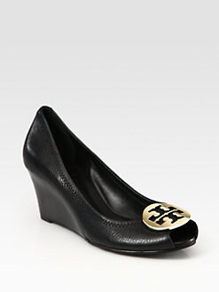 Tory Burch - Sally 2 Leather Logo Wedge Pumps
