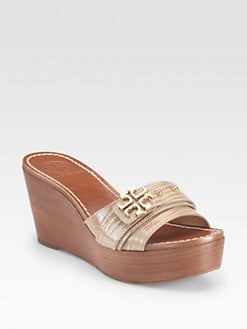 Tory Burch - Elina Lizard-Embossed Patent Leather Wedges