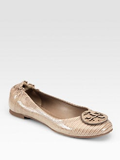 Tory Burch - Reva Lizard-Embossed Patent Leather Ballet Flats
