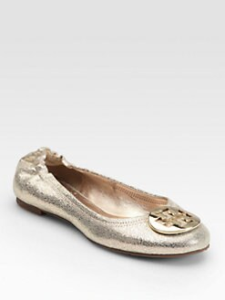 Tory Burch - Reva Pebbled Metallic Leather Ballet Flats