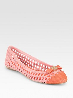 Tory Burch - Carlyle Woven Leather Ballet Flats