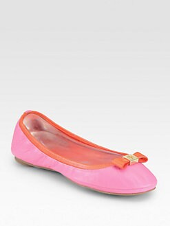 Tory Burch - Eddie Leather Bow Ballet Flats