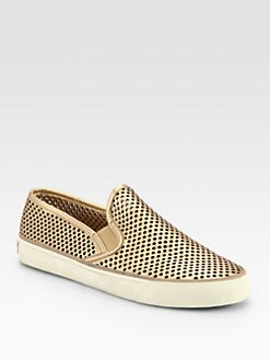 Tory Burch - Miles Perforated Metallic Leather Sneakers