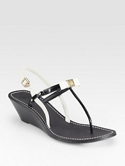 Tory Burch - Kailey Leather Wedge Sandals