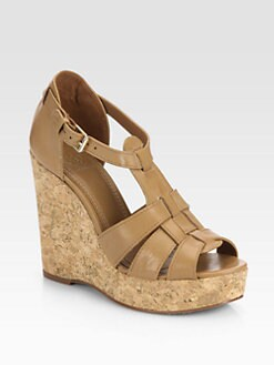 Tory Burch - Wendelle Leather Cork Wedge Sandals