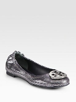 Tory Burch - Reva Snake-Print Mirror Leather Ballet Flats