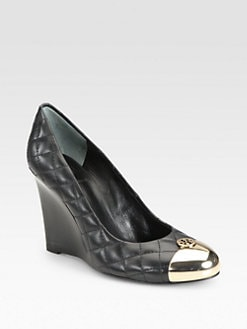 Tory Burch - Kaitlin Quilted Leather Wedge Pumps