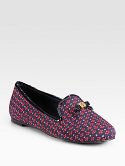 Tory Burch - Chandra Satin & Patent Leather Smoking Slippers