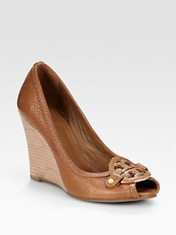 Tory Burch - Amanda Leather Logo Peep Toe Wedge Pumps