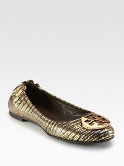 Tory Burch - Reva Snake-Print Metallic Leather Ballet Flats
