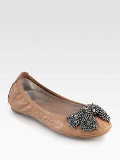 Tory Burch - Eddie Leather & Crystal Bow Ballet Flats
