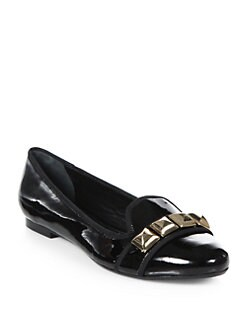 Tory Burch - Asher Studded Patent Leather Smoking Slippers