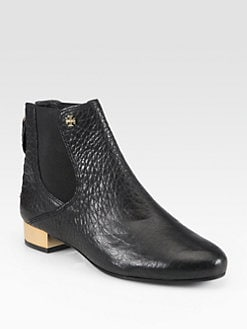 Tory Burch - Adaire Pebbled Leather Ankle Boots