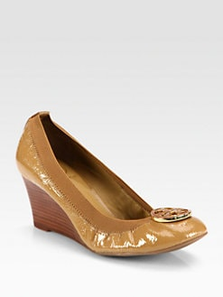 Tory Burch - Caroline Patent Leather Logo Wedge Pumps
