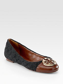 Tory Burch - Parker Flannel and Leather Logo Ballet Flats