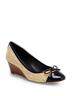 Tory Burch - Catherine Raffia & Patent Leather Wedge Pumps