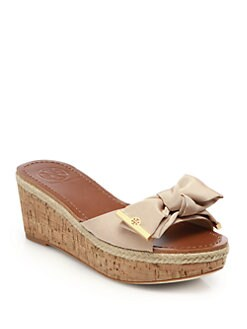 Tory Burch - Penny Grosgrain Cork Wedge Slides