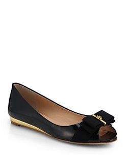 Tory Burch - Trudy Patent Leather Demi-Wedge Flats