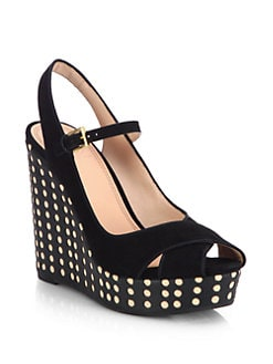 Tory Burch - Ollie Suede & Leather Polka Dot Wedge Sandals