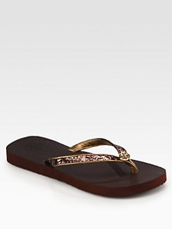 Tory Burch - Aida Glitter Logo Thong Flip Flops