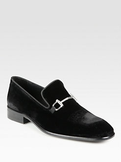Saks Fifth Avenue Men's Collection - Bit-Detailed Velvet Loafers