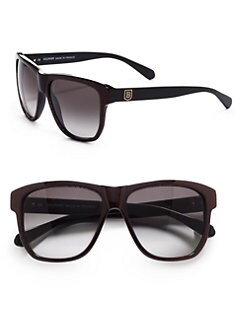 Balmain - Square Glitter Acetate Sunglasses/Red