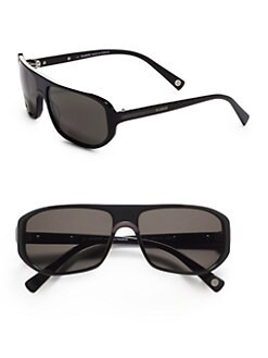 Balmain - Geometric Metal & Acetate Sunglasses/Black