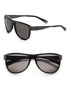 Balmain - Aviator Metal & Acetate Sunglasses/Black Grey