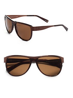 Balmain - Aviator Metal & Acetate Sunglasses/Dark Tortoise