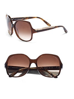 Nina Ricci - Oversized Round Translucent Braided Sunglasses/Brown