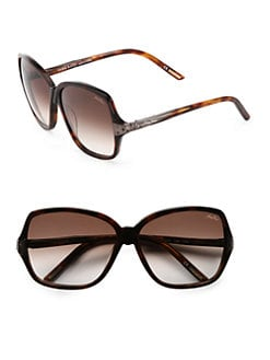Nina Ricci - Oversized Round Embellished Acetate Sunglasses/Brown