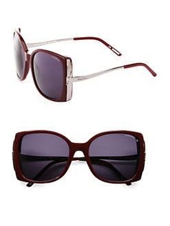 Nina Ricci - Oversized Square Acetate & Metal Sunglasses/Plum
