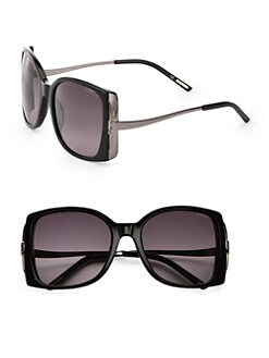 Nina Ricci - Oversized Square Acetate & Metal Sunglasses/Black