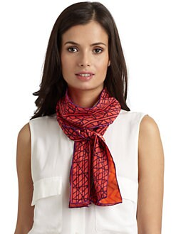 Harshita - Silk Chiffon Abstract Zigzag Skinny Scarf