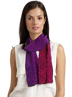 Harshita - Silk Chiffon Leaf Skinny Scarf