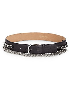 MaxMara - Ostrich-Embossed Leather & Chain Belt