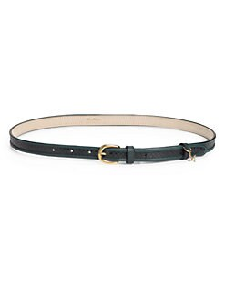 MaxMara - Snake-Embossed Leather Skinny Belt
