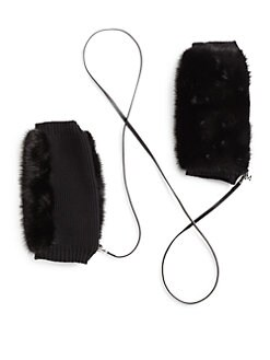 MaxMara - Mink & Wool Hand Muffs/Black