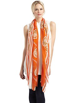 Mir - Chain Print Striped Scarf