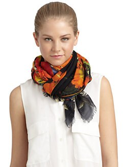Givenchy - Birds of Paradise & Flower Wool Scarf