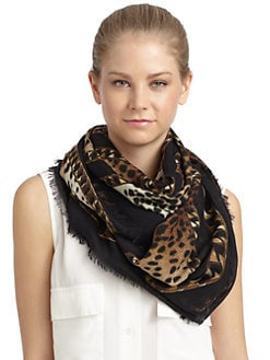 Givenchy - Chain & Leopard Greek Key Wool Scarf/Black