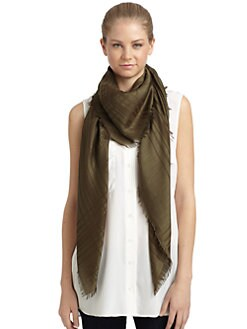 Givenchy - Tonal Greek Key Cashmere/Silk/Wool Scarf