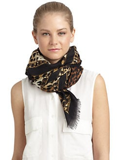 Givenchy - Chain & Leopard Greek Key Wool Scarf