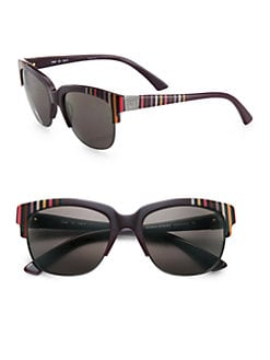 Sonia Rykiel - Wayfarer Half-Rim Striped Acetate Sunglasses/Purple