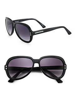 Sonia Rykiel - Oval Studded Acetate Sunglasses/Black