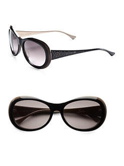 Judith Leiber - Rounded Crystal Two-Tone Plastic Sunglasses