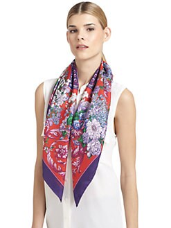 Versace - Silk Satin Floral Scarf/Red & Purple