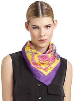 Versace - Silk Satin Floral Scarf/Yellow & Purple