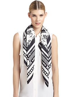 Versace - Silk Satin Floral Baroque Scarf/Black & White